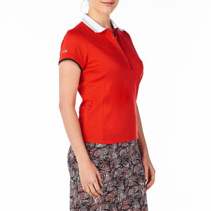 Nivo Women's Rumer Red Polo Shirt Model Image Side NI8210182