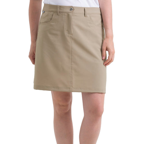 Nivo Women's Marika Shell Beige Golf Skort Model Front NI8210610