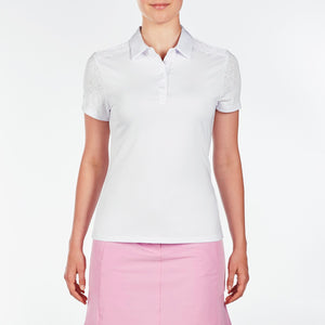 NI9210110 Nivo Women's Andrea White Jacquard Polo Shirt Product Image Front