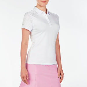 NI9210110 Nivo Women's Andrea White Jacquard Polo Shirt Product Image Side