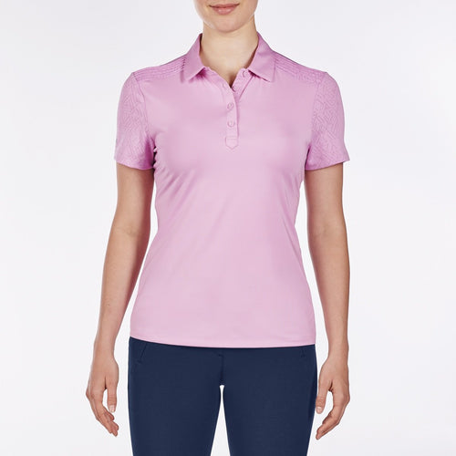 NI9210110 Nivo Women's Andrea Wild Orchid Jacquard Polo Shirt Product Image Front