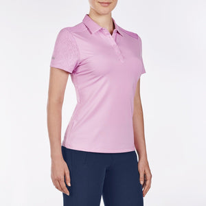 NI9210110 Nivo Women's Andrea Wild Orchid Jacquard Polo Shirt Product Image Side