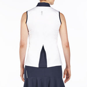 NI9210114 Nivo Women's Andie White Sleeveless Polo Shirt Product Image Back