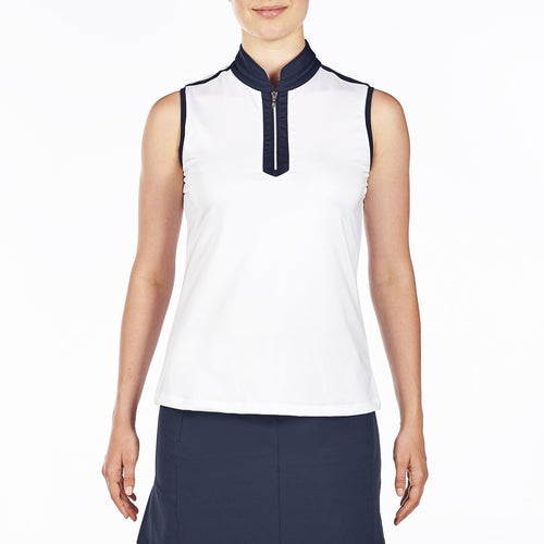 NI9210114 Nivo Women's Andie White Sleeveless Polo Shirt Product Image Front