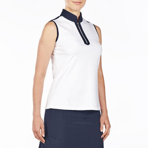 NI9210114 Nivo Women's Andie White Sleeveless Polo Shirt Product Image Side