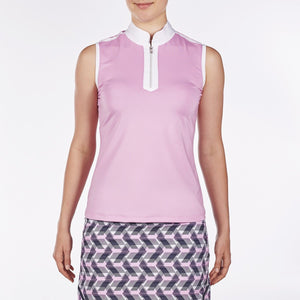 NI9210114 Nivo Women's Andie Wild Orchid Sleeveless Polo Shirt Product Image Front