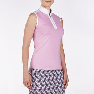 NI9210114 Nivo Women's Andie Wild Orchid Sleeveless Polo Shirt Product Image Side