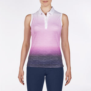 NI9210115 Nivo Women's Allyson Wild Orchid & White Sleeveless Mesh Polo Shirt Product Image Front