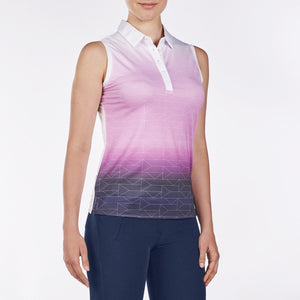 NI9210115 Nivo Women's Allyson Wild Orchid & White Sleeveless Mesh Polo Shirt Product Image Side