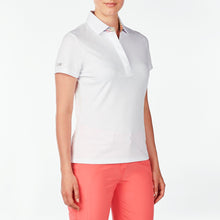 NI9210125 Nivo Women's Giada White Jacquard Polo Shirt Product Image Side