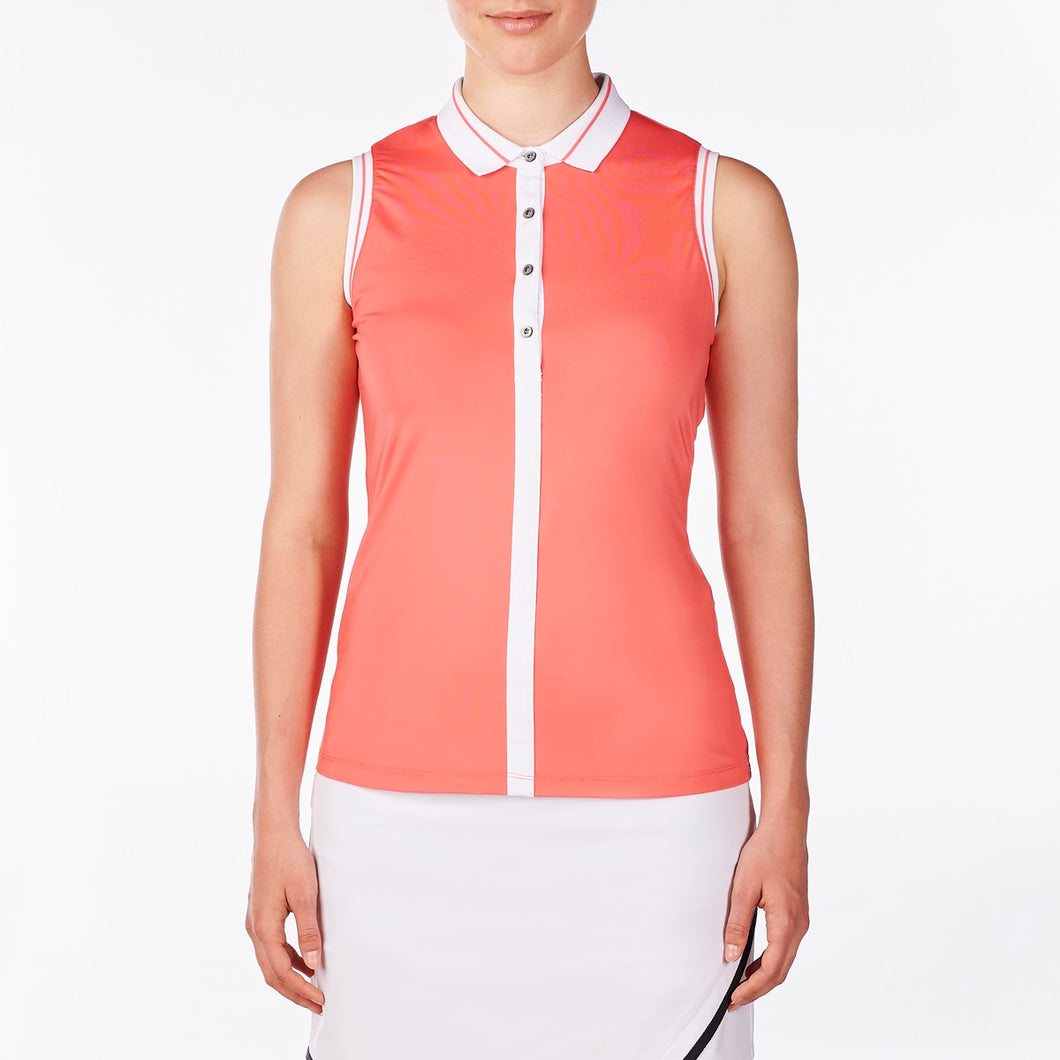 NI9210131 Nivo Women's Willa Sunkist Coral Sleeveless Polo Shirt Product Image Front