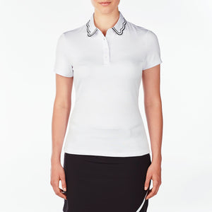 NI9210132 Nivo Women's Wendy White Jacquard Polo Shirt Product Image Front
