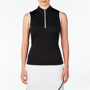 NI9210133 Nivo Women's Wynne Black Sleeveless Polo Shirt Product Image Front