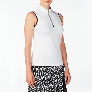 NI9210133 Nivo Women's Wynne White Sleeveless Polo Shirt Product Image Side