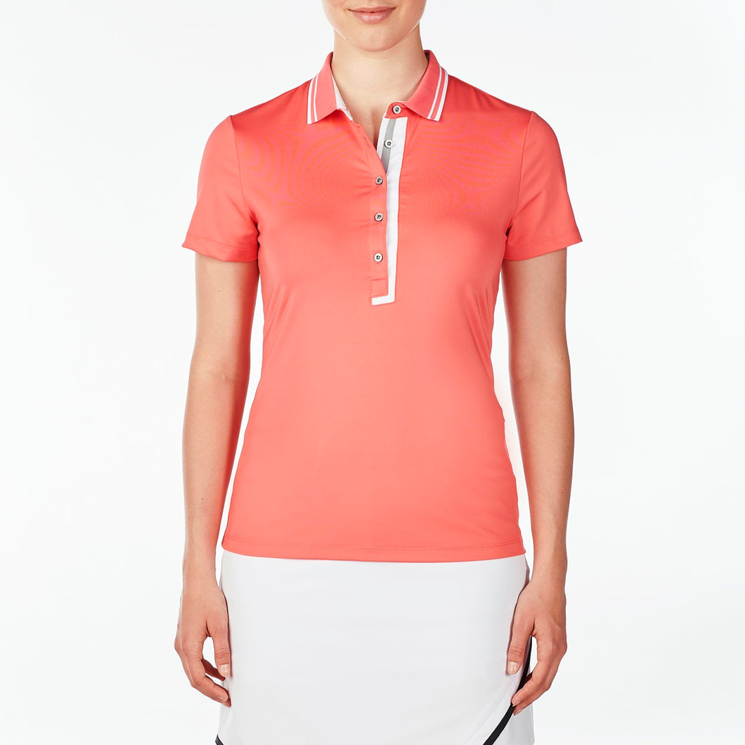 NI9210134 Nivo Women's Wesley Sunkist Coral Polo Shirt Product Image Front