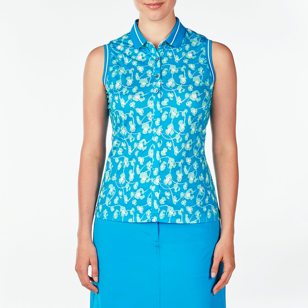NI9210141 Nivo Women's Daisy Malibu Blue Sleeveless Polo Shirt Product Image Front