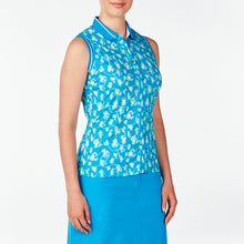 NI9210141 Nivo Women's Daisy Malibu Blue Sleeveless Polo Shirt Product Image Side