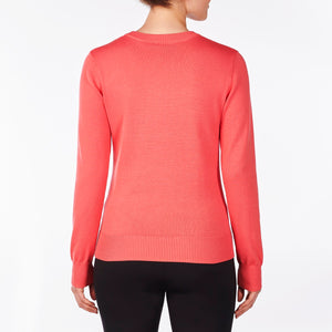 NI9210201 Nivo Women's Walker Sunkist Coral V-Neck Sweater Product Image Back