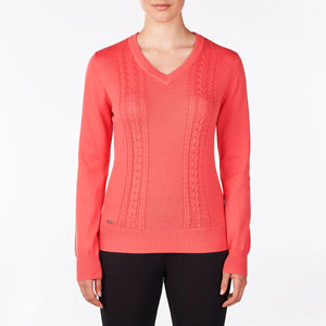 NI9210201 Nivo Women's Walker Sunkist Coral V-Neck Sweater Product Image Front