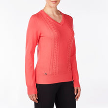 NI9210201 Nivo Women's Walker Sunkist Coral V-Neck Sweater Product Image Side