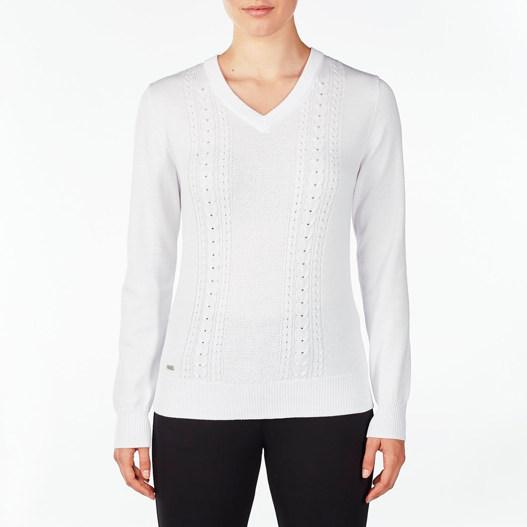 NI9210201 Nivo Women's Walker White Sweater Product Image FrontNI9210201 Nivo Women's Walker White V-Sweater Product Image Front