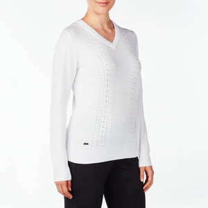NI9210201 Nivo Women's Walker White V-Sweater Product Image Side