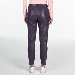 NI9210402 Nivo Ladies TILDA Purple Plum Leather Look Stretch Pant Product Image Back