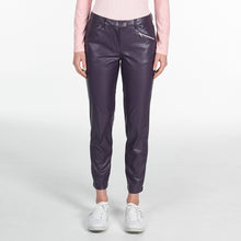 NI9210402 Nivo Ladies TILDA Purple Plum Leather Look Stretch Pant Product Image Front