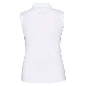 Nivo Ladies Nika White Sleeveless Zip Polo Shirt Product Back NI6210101