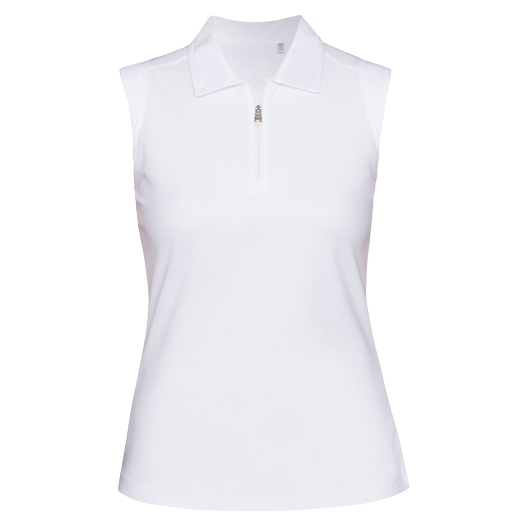 Nivo Ladies Nika White Sleeveless Zip Polo Shirt Product Front NI6210101