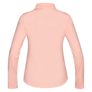 Nivo Zelda Ladies Peach Long Sleeve Patterned Polo Shirt Back NI7210196_785