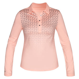 Nivo Zelda Ladies Peach Long Sleeve Patterned Polo Shirt Front NI7210196_785