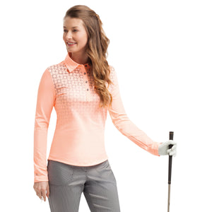 Nivo Zelda Ladies Peach Long Sleeve Patterned Polo Shirt Model Image NI7210196_785