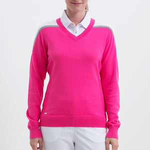 Nivo Women's 'fAYE' v-Neck Sweater in Energy Pink at The Golf Outfit Product Image Front NI8210201