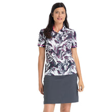 Nivo Women's 'Flo' Print Pattern Polo Shirt in White at The Golf Outfit Model Image Front NI8210126