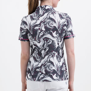 Nivo Women's 'Flo' Print Pattern Polo Shirt in White at The Golf Outfit Product Image Back NI8210126