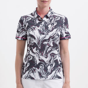 Nivo Women's 'Flo' Print Pattern Polo Shirt in White at The Golf Outfit Product Image Front NI8210126