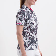 Nivo Women's 'Flo' Print Pattern Polo Shirt in White at The Golf Outfit Product Image Side NI8210126