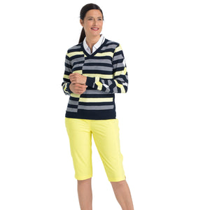 Nivo Women's 'Hayden' Striped V-Neck Sweater in Navy at The Golf Outfit Model Image Front NI8210203_400