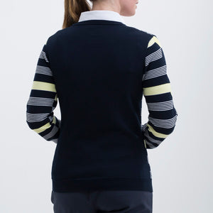 Nivo Women's 'Hayden' Striped V-Neck Sweater in Navy at The Golf Outfit Product Image Back NI8210203_400