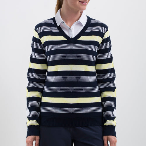Nivo Women's 'Hayden' Striped V-Neck Sweater in Navy at The Golf Outfit Product Image Front NI8210203_400