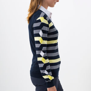 Nivo Women's 'Hayden' Striped V-Neck Sweater in Navy at The Golf Outfit Product Image Side NI8210203_400