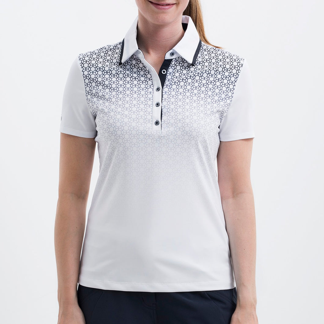 Nivo Women's 'Heather' Polo Shirt in White at The Golf Outfit Model Image Front NI8210142