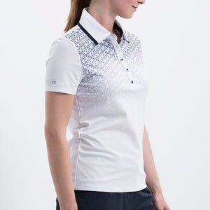 Nivo Women's 'Heather' Polo Shirt in White at The Golf Outfit Model Image Side NI8210142