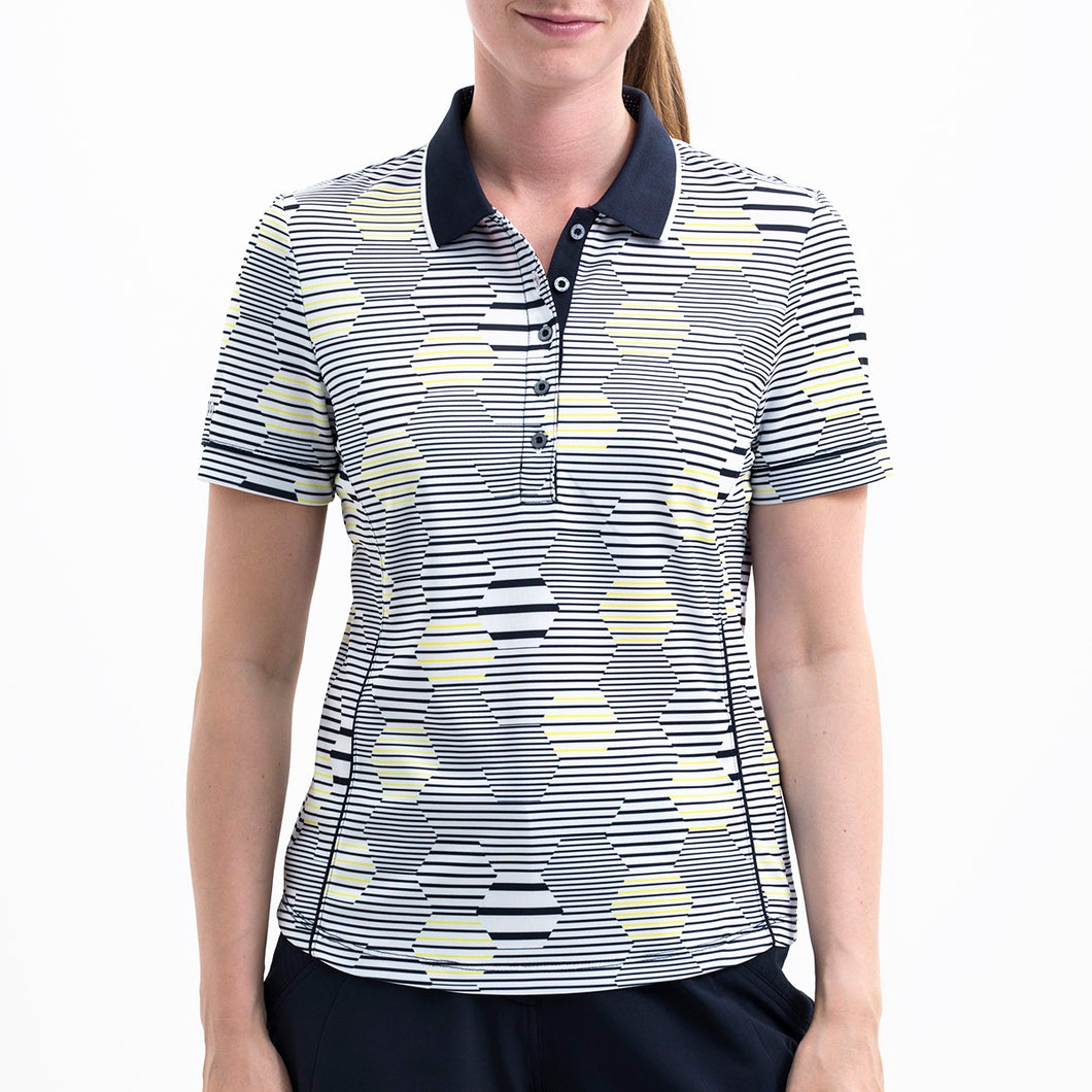 Nivo Women's 'Heidi' Polo Shirt in White & Navy at The Golf Outfit Model Image Front NI8210144