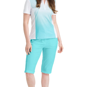 Nivo Women's Madison Bermuda Long Shorts in Angel Blue at The Golf Outfit Model Image Front NI8210410_476