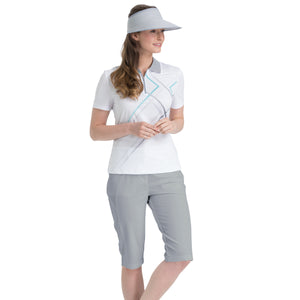 Nivo Women's Madison Bermuda Long Shorts in Light Grey at The Golf Outfit Model Image Front NI8210410_061