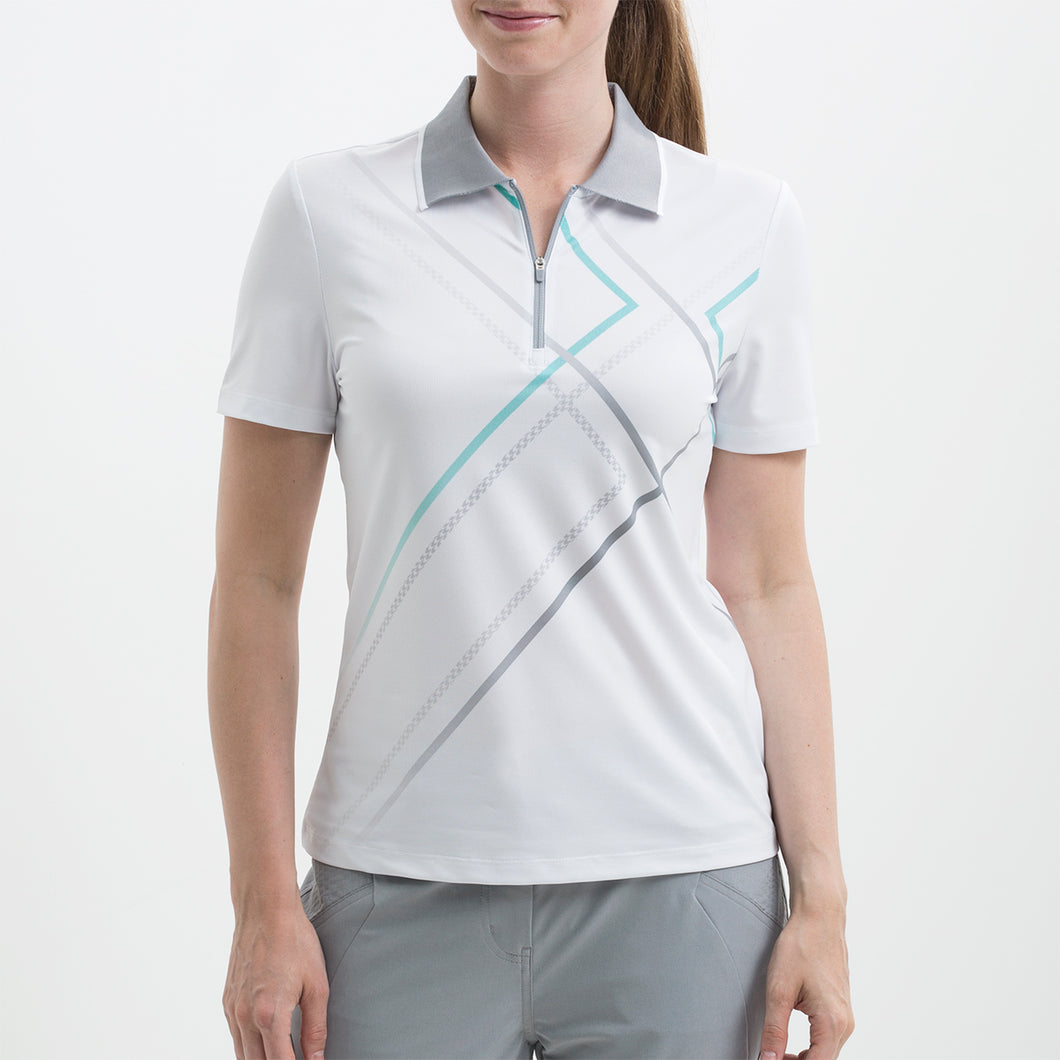 Nivo Women's Violet White Zip-Neck Polo Shirt Product Image Front NI8210113