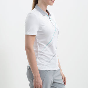 Nivo Women's Violet White Zip-Neck Polo Shirt Product Image Side NI8210113