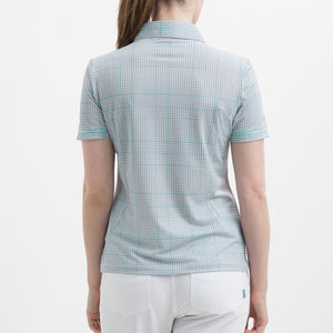 Nivo Women's Vivica Grey Check Polo Shirt Product Image Side NI8210115